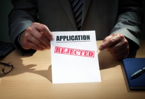 Application has been rejected concept for loan, mortgage, insurance claim form, finance or credit rejection